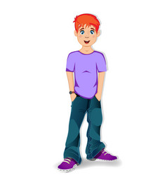 cool full length teen boy wearing blue jeans vector image