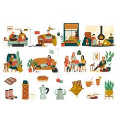 Cozy home icons set vector