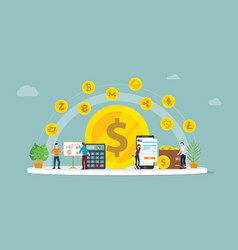 cryptocurrency business money option with various vector image