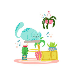 cute playful cat with house plants in cartoon vector image