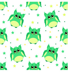 Cute sad green colored owls vector