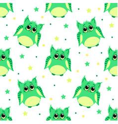 cute sad green colored owls vector image