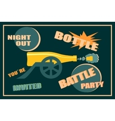 Design for wine event Bottle battle party vector image
