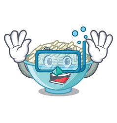 Diving rice bowl character cartoon vector