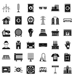 Electrical equipment icons set simple style vector