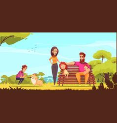 Family active holidays cartoon vector