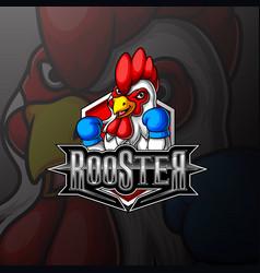 Fighting rooster mascot e sport logo design vector