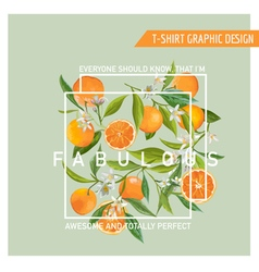 Floral Graphic Design Orange Background T-shirt vector image