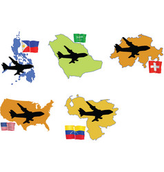 fly me to the Philippines Saudi Arabia Switzerland vector image