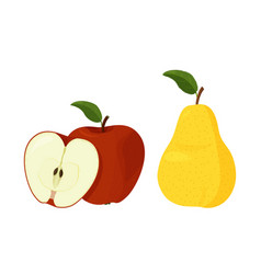 Fresh yellow pear and red apple with green leaf vector