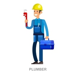 Friendly plumber he is dressed in work clothes vector