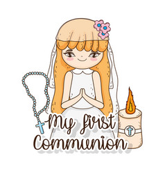 girl communion wearing dress with candle and vector image