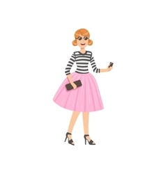 Girl In Pink Tutu And Stripy Top vector
