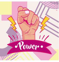 Girl power memphis styles vector