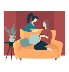 girlfriends spending cozy winter evening and vector image