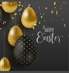 Gold glitter easter eggs luxury greeting card vector