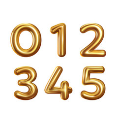 golden number balloons 0 to 5 vector image