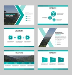 Green presentation templates Infographic set vector
