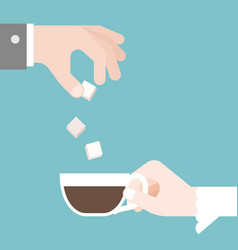 Groom put sugar in bridge coffee cup vector