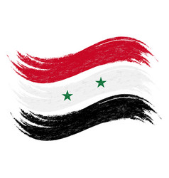 Grunge brush stroke with national flag of syria vector