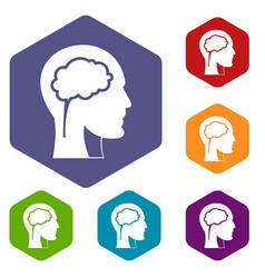 Head with brain icons set hexagon vector