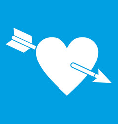 Heart with arrow icon white vector