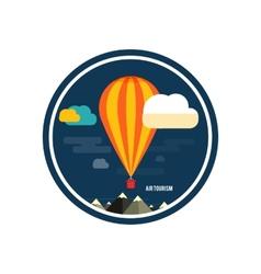 Hot air balloon flying over mountain vector