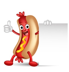 hot dog cartoon holding blank sign vector image