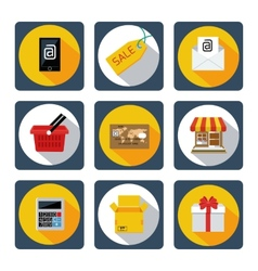 Icon set for mobile shopping marketing banking vector image