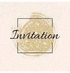 Invitation card with golden sparkling stars and vector
