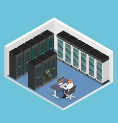 isometric businessman doing diagnostic test in vector image