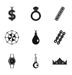 jewelry collection icon set simple style vector image