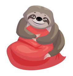 Kid sloth take pillow icon cartoon style vector