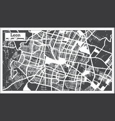 Leon mexico city map in retro style outline map vector