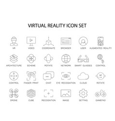 line icons set virtual reality pack vector image