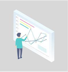 man at the blackboard writing graphs cartoon icon vector image