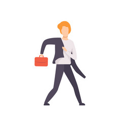 Man in a suit running with briefcase businessman vector