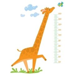 Meter wall with giraffe and bird vector