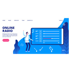 mobile entertainment landing page online radio vector image