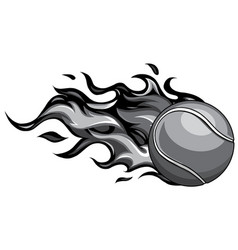 Monochromatic flaming tennis ball on fire flying vector
