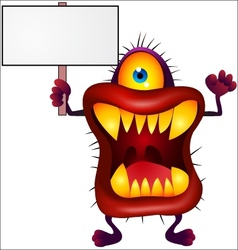Monster with blank sign vector image