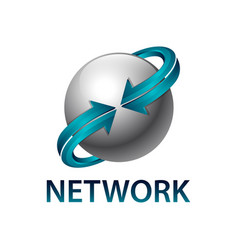 network sphere rotate blue arrow logo concept vector image