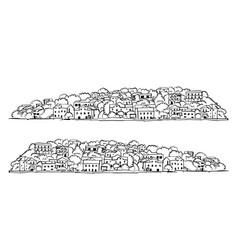 Old european city mediterranean sea sketch for vector