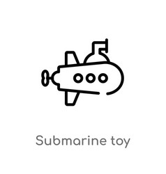 Outline submarine toy icon isolated black simple vector