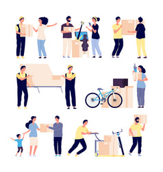 people moving new house family moves new home vector image