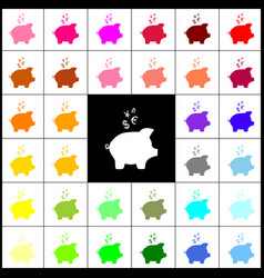 Piggy bank sign with the currencies felt vector