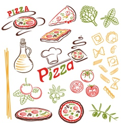 Pizza pasta set vector image