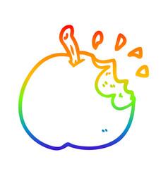 Rainbow gradient line drawing fresh bitten apple vector