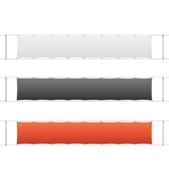 Realistic Blank Banner Textile Set vector