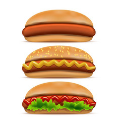 realistic detailed 3d hotdog fast food set vector image